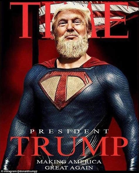 trump donald superhero president jr beard father chest daily posts bizarre son mail emblazoned depicts instead across golden long
