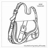 Drawing Bags Designer Bag Handbags Sketch Handbag Dior Illustration Chanel Iconic Pattern Gaucho Leather Disegno Borsa Cad Sac Yamalı Yorganlar sketch template