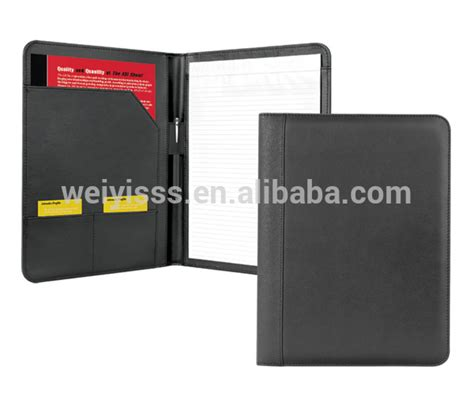 leather resume folder with document pocket card pockets