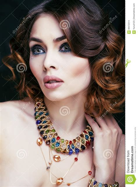 Beauty Rich Woman With Luxury Jewellery Looks Like Mature