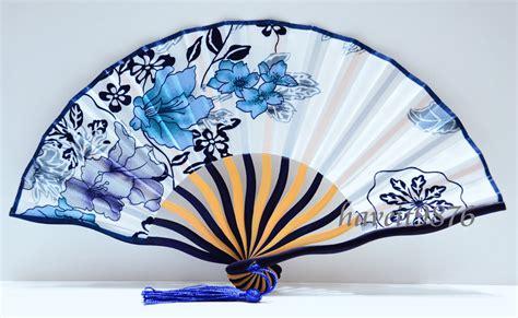 japanese silk hand fans silk fabric japanese hand fan wedding folding fan white blue
