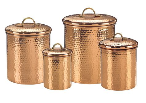 kitchen canisters set of 4 solid copper hammered canisters in kitchen canisters