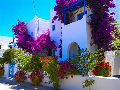 Greece Desktop Flowers Summer Wallpapers Background Sea