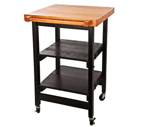 Folding Island Kitchen Cart Wbutcher Block Style Top