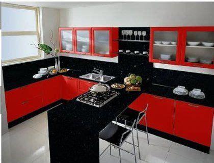 cocina roja  negra  barra de desayuno decoracion de cocina decoracion de cocina moderna