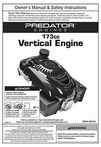 Predator Engines 173cc Owner U0026 39 S Manual  U0026 Safety
