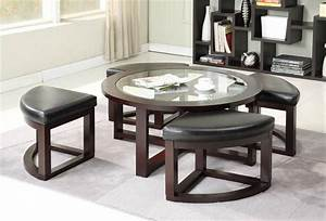 coffee table with pull out ottomans roy home design With circle coffee table with seats