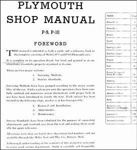 1940 Plymouth Repair Shop Manual Original