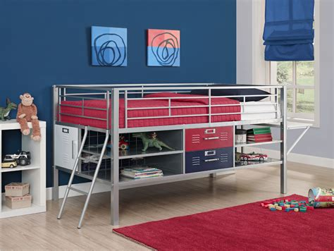 Dorel Home Furnishings Junior Twin Silver Bed With Locker