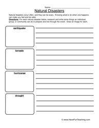 natural disasters worksheet natural disasters writing