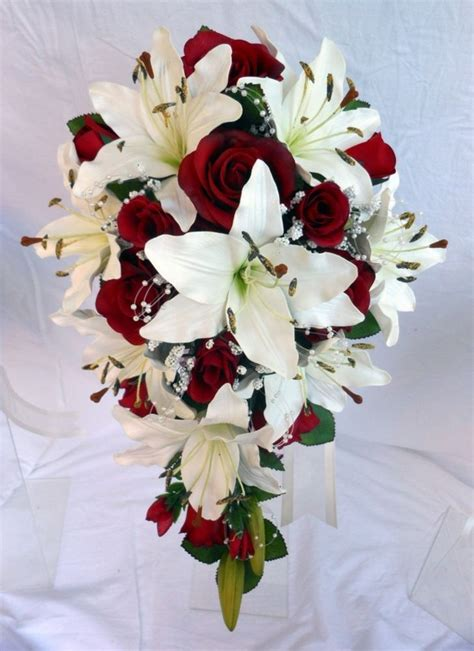 details  teardrop wedding bouquet ivory lillies