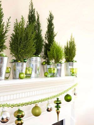 green christmas decorations tree line buckets and green christmas