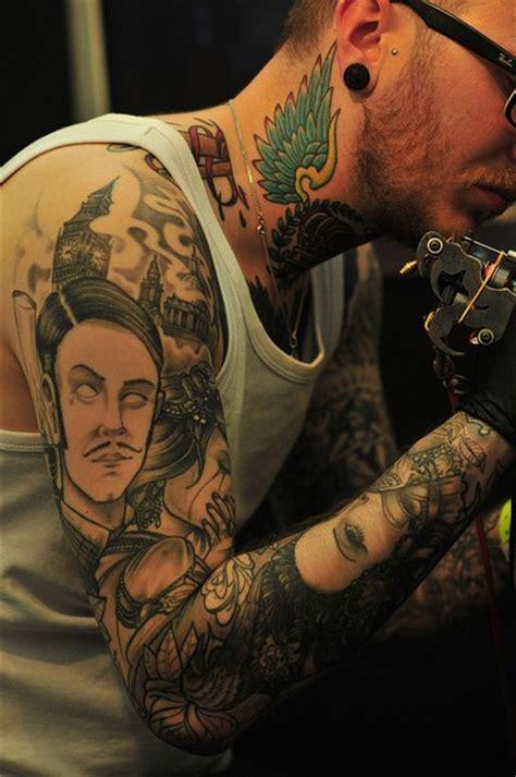 black  white faces tattoo sleeve  tattoo ideas