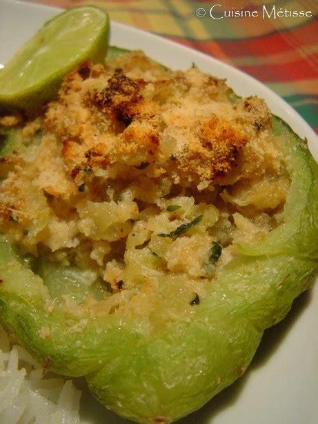 cuisiner des christophines christophines farcies au crabe suite de mon assiette