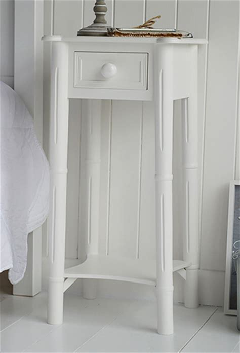 narrow tall white bedside table  drawer  chunky