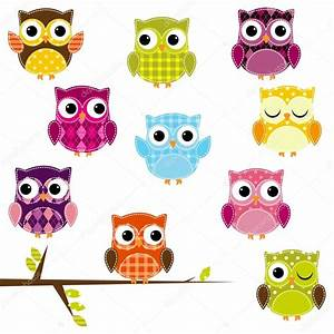 Vector Illustration of Patchwork Owls — Stock Vector ...