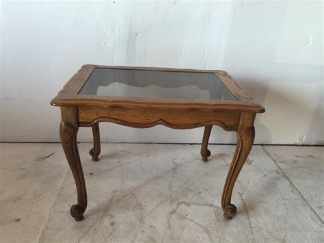 Route 66 Furniture » Oak Glass Top End Table