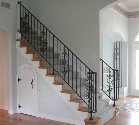 interior wrought iron stair rail  column cover