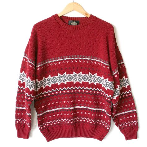 red nordic snowflake nubby ski ugly christmas sweater
