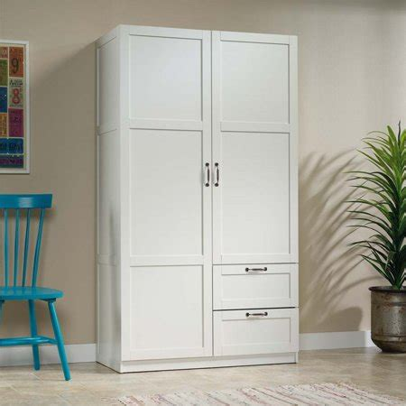White Wardrobe Cabinet by Sauder Select Wardrobe Armoire In White Walmart