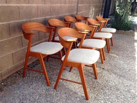 set danish modern dining chairs kai kristiansen