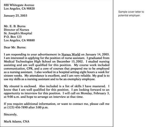 cover letter for potential opening sle cover letter sle cover letter for