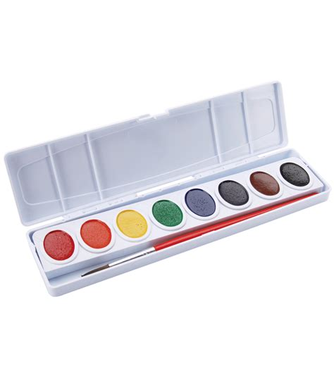 water color set prang oval pan watercolor paint w brush 8 colors jo