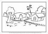 Draw Nature Drawing Step Learn Scenes Drawings Places Architecture Paintingvalley Tutorials sketch template