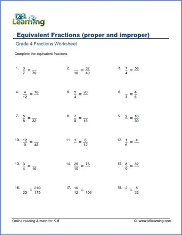 grade  math worksheets equivalent fractions proper