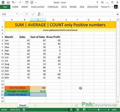 Numbers Positive Sumif Excel Count Countif Average