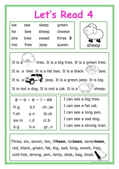 let s read 4 worksheet free esl printable worksheets
