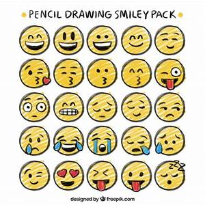 Pencil drawing smiley pack   Free Vector