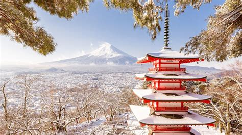 chureito pagoda  mount fuji  winter hd wallpaper