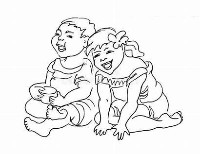 Laughing Children Playing Sketch Giocando Risata Bambini