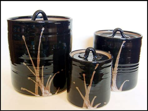 Black Ceramic Canister Sets Kitchen by Kitchen Black Canister Sets For Kitchen With