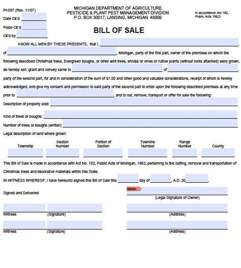 Michigan Boat Bill Of Sale Pdf by Free Michigan Plant Bill Of Sale Pi 087 Form Pdf