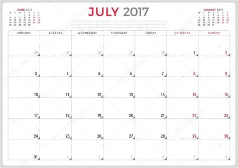 calendar planner year vector design template july week