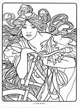 Coloring Nouveau Pages Deco Mucha Alphonse Colouring Drawing Adult Adults Books Line Drawings Colorir Printable Getdrawings Face Flickr Animal Pro sketch template