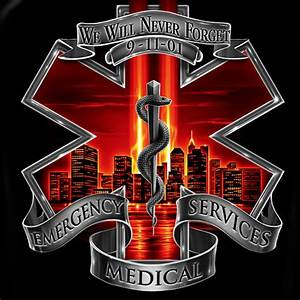 EMS Never Forget 9/11 Patriotic Black Graphic T-Shirt