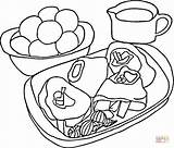 Coloring Steak Potatoes Pages Printable Picnic Meat Mashed Basket Super Puzzle sketch template