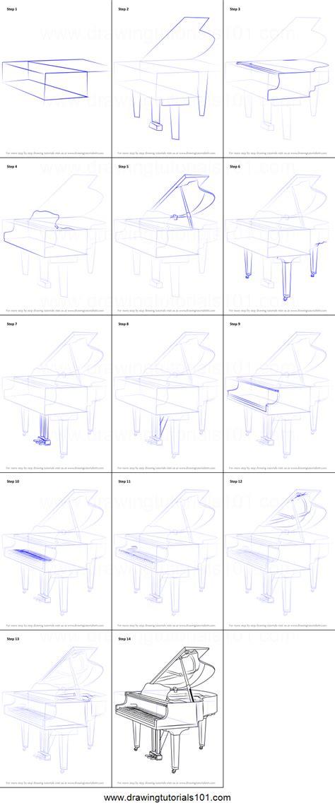 draw  grand piano printable step  step drawing