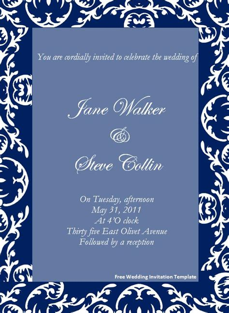 free wedding invitation template free wedding invitation template page word excel pdf