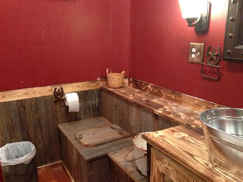 rustic bathroom  paint  cabin red valspar
