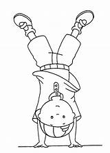 Upside Down Coloring Standing Caillou Sun sketch template