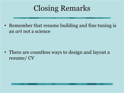 Curriculum Vitae Closing Statement by Cv Writing