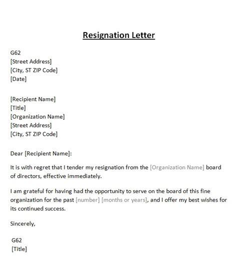 resignation letter  board template sample