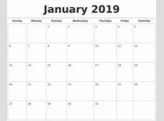 January 2019 Calendars Free