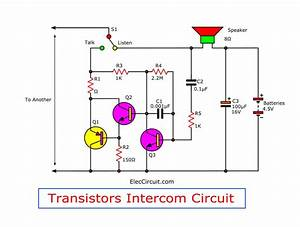 Simple Intercom Circuit Transistor