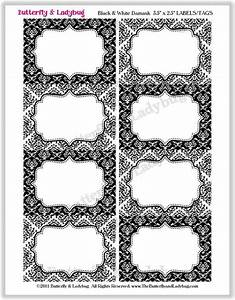 instant download editable printable black white damask With black labels for printing