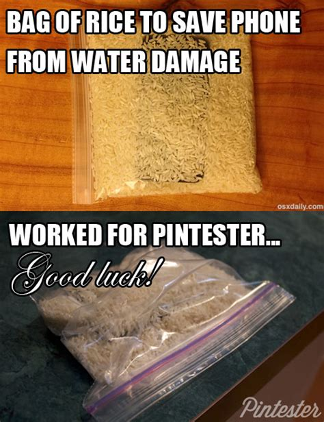 how to keep iphone in rice bag of rice trick for submerged iphone pintester